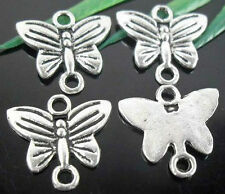 Wholesale 50/100Pcs Tibetan Silver(Lead-Free)Butterfly Connectors   11x14mm