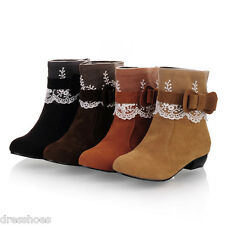 Women's Round Toe Kitten Heel Shoes Lace Bow Suede Fabric Ankle Boots Sz AU O335