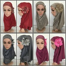 New Style Flower with Pearl Muslim **1 Piece Al-Amira Hijab ** Islamic scarf.