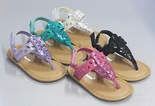 Girl Thong Sandals Sequins (Sez17i) Toddler Dress Shoes Baby Sandals Teal Purple