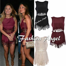 Women Lace Crochet Trim Co Ord Crop Top Ladies Mini Shorts Two Piece Suit Dress