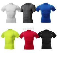 Men's Compression Wear Under Base Layer Tops Tight Short Sleeve Sports T-Shirts