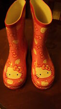 BRAND NEW EX-GEORGE HELLO KITTY GIRLS PINK WELLINGTON BOOTS SIZE 4-12  WITH TAGS