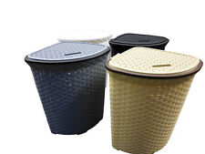 52L Large Rattan Plastic Corner Laundry Bin Washing Bin & General Storage Basket