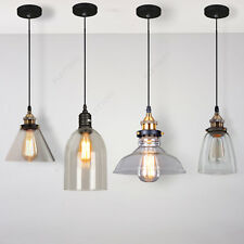 Vintage Industrial Pendant Light Glass Lampshade Retro Edison Style Lamp