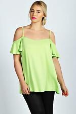 Boohoos Womens Plus Amy Frill Sleeve Swing Top
