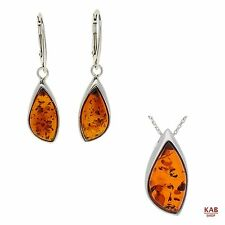 COGNAC BALTIC AMBER STERLING SILVER 925 JEWELLERY PENDANT & EARRINGS, KAB-130