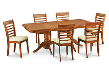 NAML7-SBR 7 Piece formal dining room set Table with a Leaf and 6 chairs for dini