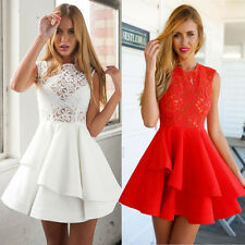 Sexy Ladies Vintage Lace Sleeveless Evening Formal Cocktail Mini Party Dress UK