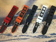 GRAND PRIX 3 HOLED RUBBER CARBON FIBRE CONTRAST STITCHED WATCHSTRAP