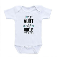 i love my aunt and uncle name personalization add baby onesies bodysuits romper