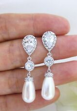 Louann Swarovski Teardrop Pearl & Crystal Bridal Formal Silver Earrings Vintage