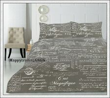 Retro Vintage SCRIPT Grey French Hand Writing * KING QUEEN QUILT DOONA COVER SET