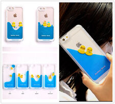 ❤ 3D Cute Floating Swimming Rubber Duck Liquid Water Hard Case for iPhone 5 / 6