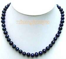 "SALE Big 8-9MM Black Natural Freshwater Round PEARL 17"" NECKLACE -nec5838"