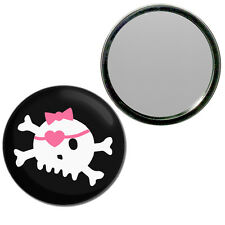 Black Skull with Bow - Round Compact Glass Mirror 55mm/77mm BadgeBeast