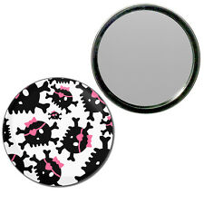 Skull Bow Pattern - Round Compact Glass Mirror 55mm/77mm BadgeBeast
