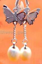 SALE 7-9mm Drop White natural Pearl &silver plated butterfly dangle earring-e400