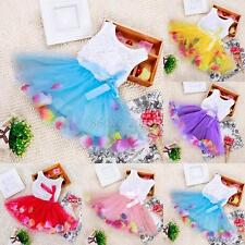 Toddler Baby Girls Princess Party Tutu Lace Bow Flower Tulle Dresses Clothes B31