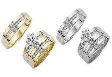 14k Yellow Gold His & Her CZ Trio Wedding Band Bridal Ring Set