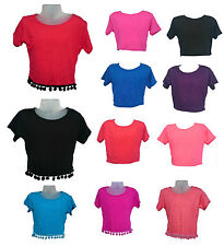 Girls Crop Top Plain Short Sleeve Summer 7 8 9 10 11 12 13 Yrs