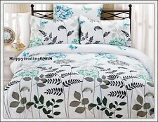 White Green Aqua Tree Flora Butterfly Soft Jac. KING QUEEN QUILT DOONA COVER SET