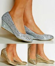 Womens Diamante Wedge 2 Inch Low Mid Heel Evening Party Court Shoes Pumps Size