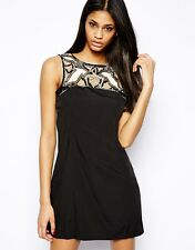 LIPSY S8 BLACK CUT OUT SEQUIN EMBELLISHED SHIFT DRESS RRP £55 BNWT