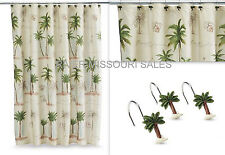 Tropical Paradise Palm Tree Beach Fabric Shower Curtain And/Or Hooks, Choice-NEW