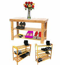 Bamboo 2 3 or 4 Tier Shoe Storage Rack Natural Bamboo Solid Shoe Rack Bench