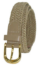 "405 - BEIGE LADIES NYLON BRAIDED STRETCH BELT 1""WIDE ON SALE & SIZES TO FIT MOST"