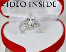 Luxury Marquise Cut Engagement Ring Wedding Diamond Ring Platinum Made in italy