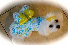 Small - Sunflower on Blue Dress -Dog dress clothes- Puppy Apparel -Toy
