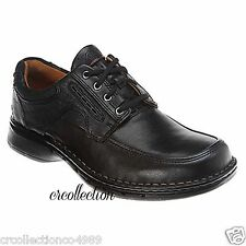 New Clarks Unstructured Mens Un.Bend Casual Lace Up Oxford Black Leather 85011