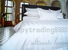 White Wrinkle Resistant 1200T Cotton SUPER KING QUEEN QUILT COVER SET EURO. CUSH