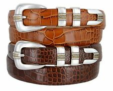 "Gold Norris - Mens Italian Calfskin Leather Designer Dress Belt, 1-1/8"" Wide"