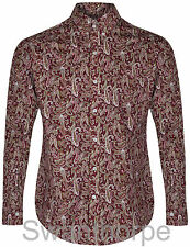 Pop England Mens Wine Paisley Long Sleeved Preppy Button Down Shirt Mod Skin 60s