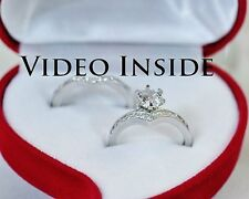 1 Carat 2Piece Engagement Wedding Ring Platinum F. 22KT S. Silver Made in Italy