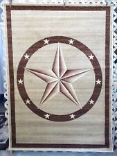 NEW! 6X8, 3X7, 3X4 Berber Tan Brown Texas Star Country Western Rustic Area Rugs