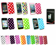 Polka Dots  Fitted Gel Case Cover for Apple Models + Screen Guard-Lot available