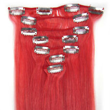 """New 15""""18""""20""""22""""7PCS Clip In/On Remy Real Human Hair Extensions Straight #Pink"""