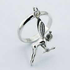 Silver band ring with fairy charm 925 sterling ring 3mm wide  6us 7us  8us 9us