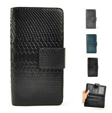 Men Genuine Leather Bifold Snap Wallet Snake Purse Zip Coin Card Holder Bag