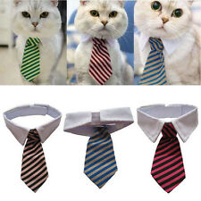 Pet Dog Cat Teddy Pet Striped Bow Tie Collar Pet Neck Tie White Collar