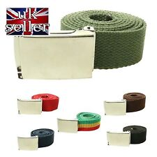 New Mens Womens 40mm Cotton Canvas Fabric Webbing Silver Buckle Belt UK Seller