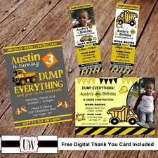Printable Photo Dump Truck Birthday Invitation, Construction party favors DIY