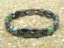 Mens Womens Magnetic Bracelet Anklet STRONG Clasp AFRICAN TURQUOISE 2 row GAUSS+