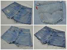 LEVIS VINTAGE DENIM HIGH WAISTED WOMENS CUT OFF SHORTS HOTPANTS RETRO 501 LIGHT