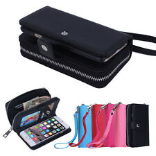 PU Leather Wristlet Cash Clutch Wallet Card Slot Case Cover For iPhone/Samsung