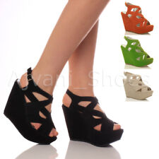 WOMENS LADIES PLATFORM HIGH HEEL WEDGE SHOES STRAPPY CUT OUT SANDALS SIZE